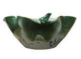 Oriental White Green Lotus Porcelain Frog Theme Fish Bowl Display cs2469S