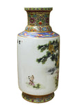 Chinese White Multi-Color Kids Monkeys Scenery Round Porcelain Vase cs2470S