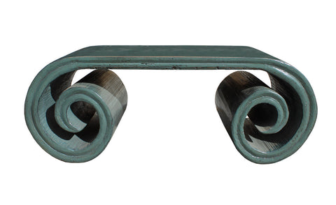 coffee table - scroll table - gray blue