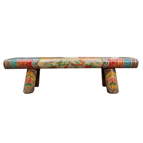 Tibetan thick wood painted bench
