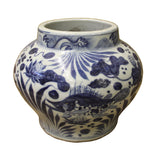 Chinese Blue White Porcelain Scenery Small Accent Pot Vase cs2520S