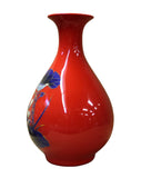 red vase - porcelain vase - fish flower vase