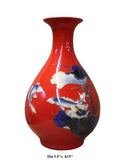 Chinese Red Base Porcelain Fishes Lotus Vase cs2552S
