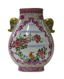 flower bird - porcelain vase - colorful vase