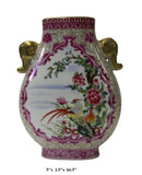 Chinese Flat Pink Rich Multi-Color Print Graphic Porcelain Vase cs2559S