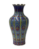 Chinese Round Blue Rich Multi-Color Print Graphic Porcelain Vase cs2571S