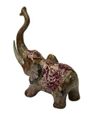Red Brown Glaze Ceramic Long Trunk Up Elephant Figure cs2573S