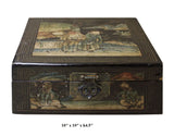Vintage Chinese Square Wood Black Lacquer Box Display cs2592S