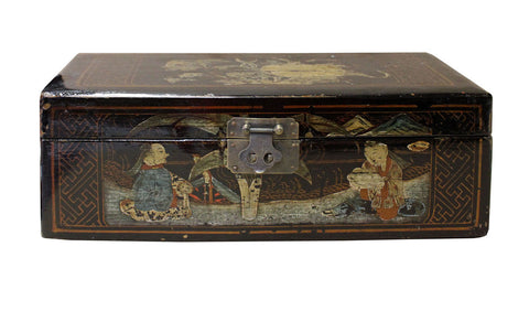Vintage Chinese Rectangular Wood Black Lacquer Box Display cs2593S