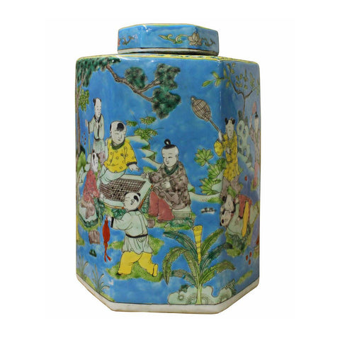 ceramic blue hexagon kids play jar