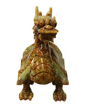 Chinese Oriental Orange Green Stone Carved Dragon Turtle Figure cs2630S