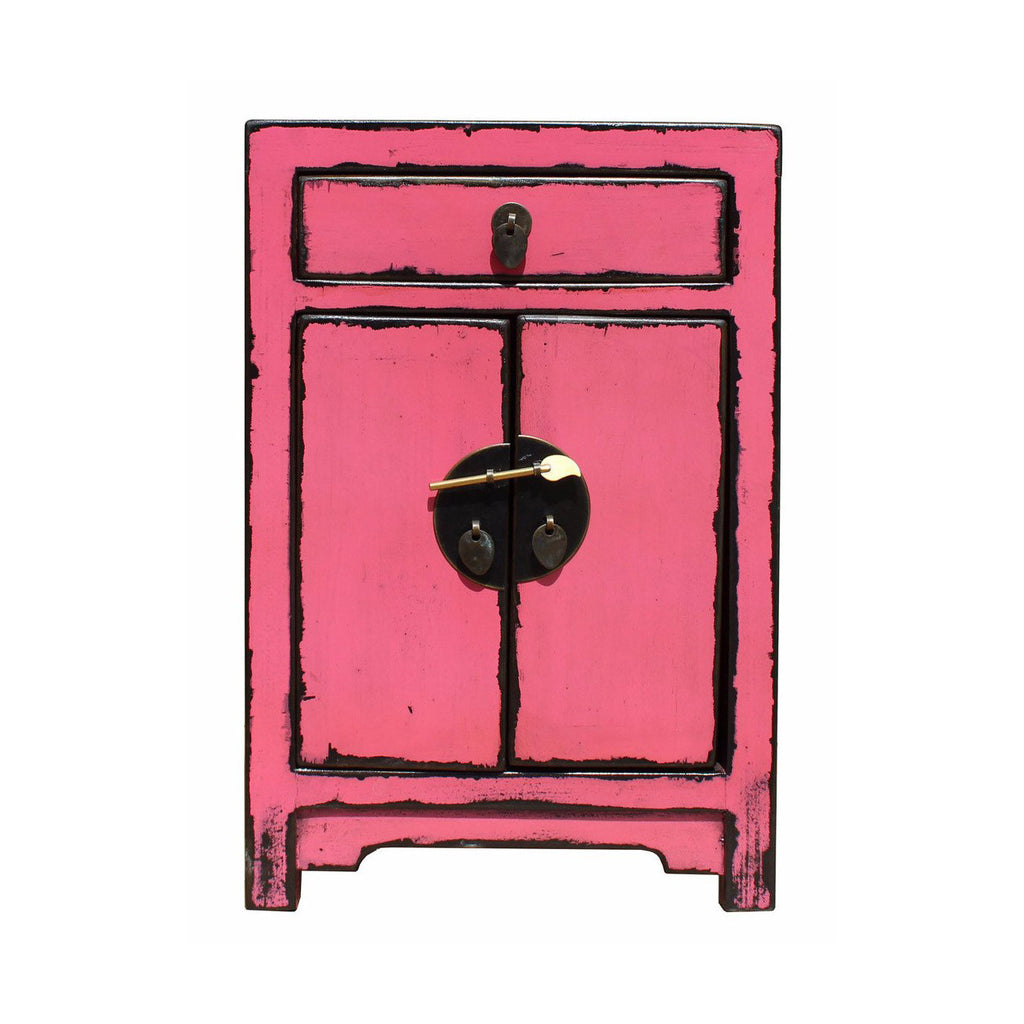 Chinese Distressed Pink Round Moon Face End Table Nightstand Cs2641s