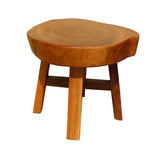 wood stool - side table - raw plank stool