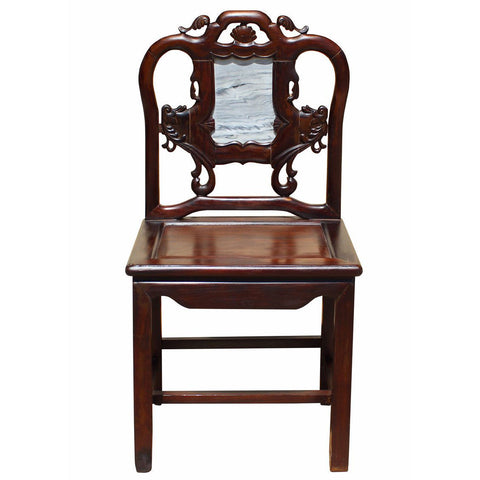 antique rosewood chair with stone back