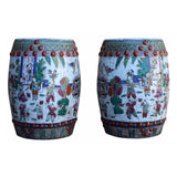 pair Chinese antique kid painting round stool