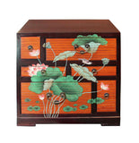 Chinese Oriental Two Brown Tone Lotus Flower Side Table Cabinet cs2695S