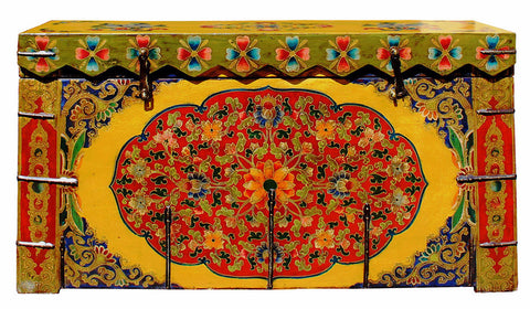 Chinese Tibetan Floral Yellow Green Wood Trunk Bench Table cs2712S