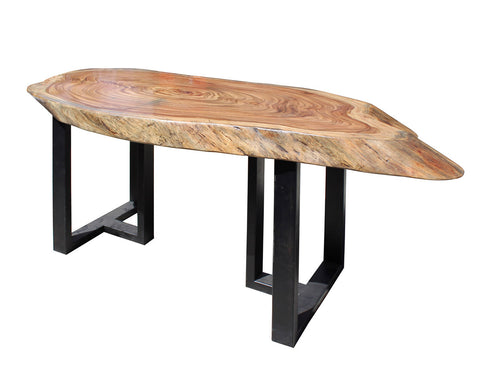 Raw Wood Plank Uneven Shape Metal Base Desk Table Cs2713s
