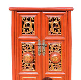 Chinese Red Golden Carving Motif Slim Narrow Cabinet cs2743S