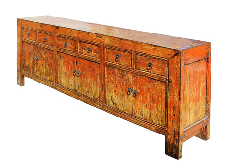 Chinese Distressed Rustic Orange Sideboard Console Table Cabinet ...