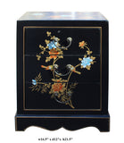 Chinese Black Flower Birds End Table Nightstand cs2756S