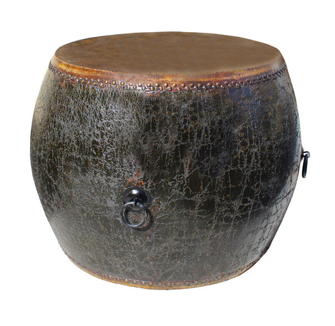 Drum Shaped Coffee Table.Distressed Black Lacquer Oriental Chinese Drum Coffee Side Table Cs2768s