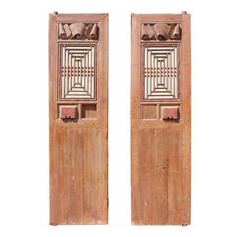 antique carved tall door panel - partition panel