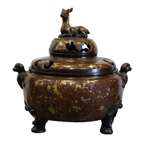 Chinese Fine Bronze Metal Deer Theme Incense Burner Ding Display