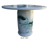 Chinese White Porcelain Green Lotus Fish Theme Round Table cs2807S