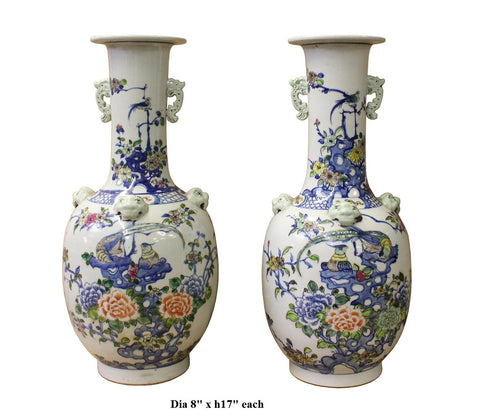 Pair Chinese Off White Porcelain Flower Birds Dragon Foo Dogs Accent