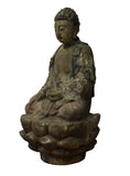 Chinese Rustic Wood Sitting Buddha Statue cs2815S
