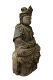 Chinese Rustic Wood Sitting Kwan Yin Statue cs2817S