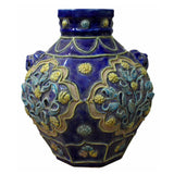 carving vase - blue ceramic vase - handcrafted nave blue pot