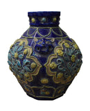 Handmade Ceramic Navy Blue Dimensional Flower Vase Jar cs2819S