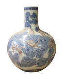 Chinese Porcelain Blue Scroll Red Dragon Fat Body Shape Vase cs2824S