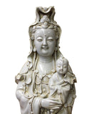 Vintage Chinese Celadon Off White Porcelain Kwan Yin with Kid Statue cs2825S