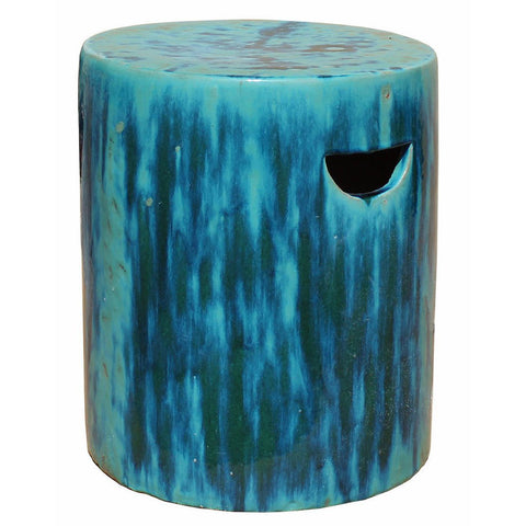round green turquoise clay garden stool