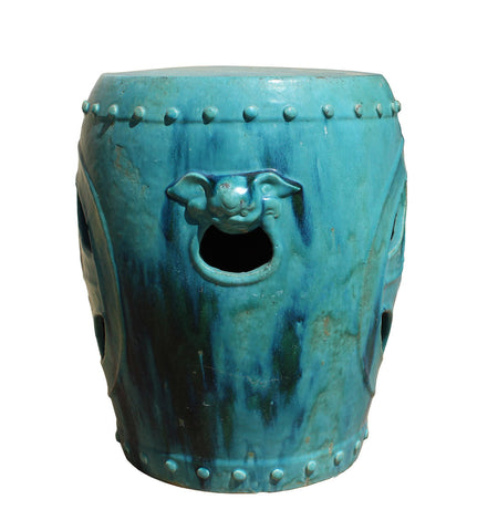 Chinese Distressed Turquoise Green Round Clay Ceramic Garden Stool