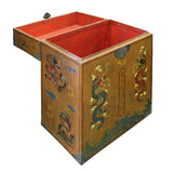 Chinese Golden Brown Dragon Graphic Trunk Box Table cs2846S