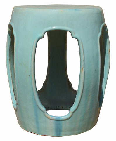 Garden Stool   Round Table   Clay Turquoise Green Stool