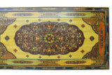 Chinese Tibetan Horizontal Yellow Floral Graphic Wood Panel cs2873S