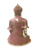 Vintage Chinese Red Glaze Porcelain Sitting Buddha with Bowl Statue cs2875S
