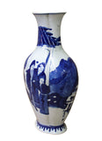 Chinese Blue White Porcelain People Theme Oval Vase cs2893S