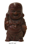 Chinese Brown Soap Stone Carved Small Happy Buddha Figure Art cs2912S