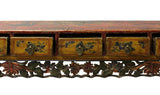 Chinese Vintage Restored Yellow Red Floral Carving Display Chest cs2933S