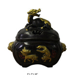 Chinese Bronze Brown Metal Golden Pixiu Foo Dogs Incense Burner cs2936S