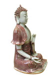 Vintage Chinese Red Glaze Porcelain Sitting Buddha with Lotus Statue cs2956S