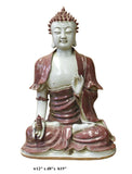 Vintage Chinese Red Glaze Porcelain Sitting Buddha with Tower Statue cs2957S