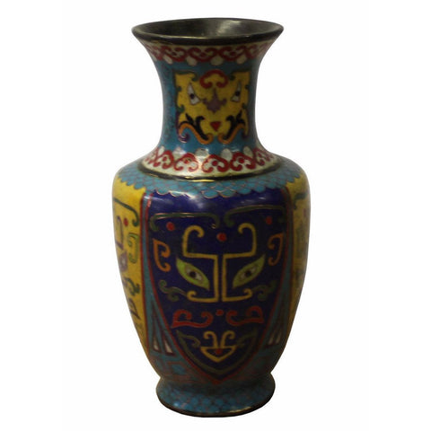 Chinese Metal Blue Yellow Enamel Cloisonne Vase Shape Figure cs2961S