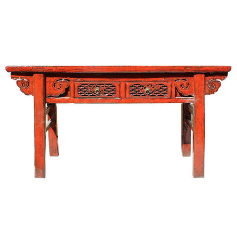 Chinese Distressed Red 2 Drawers Side Pedestal Console Table cs2980S